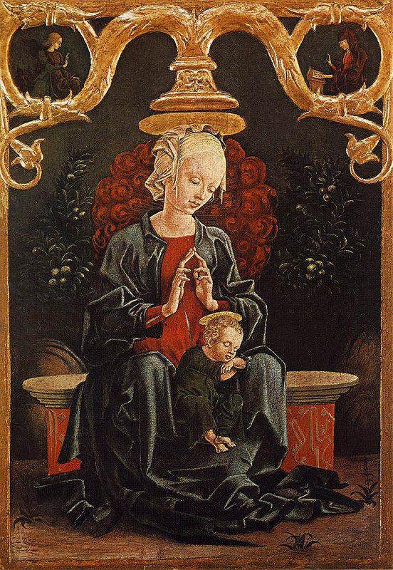 TURA Cosmè (b. ca. 1430, Ferrara, d. 1495, Ferrara): Madonna and Child in a Garden (1452)