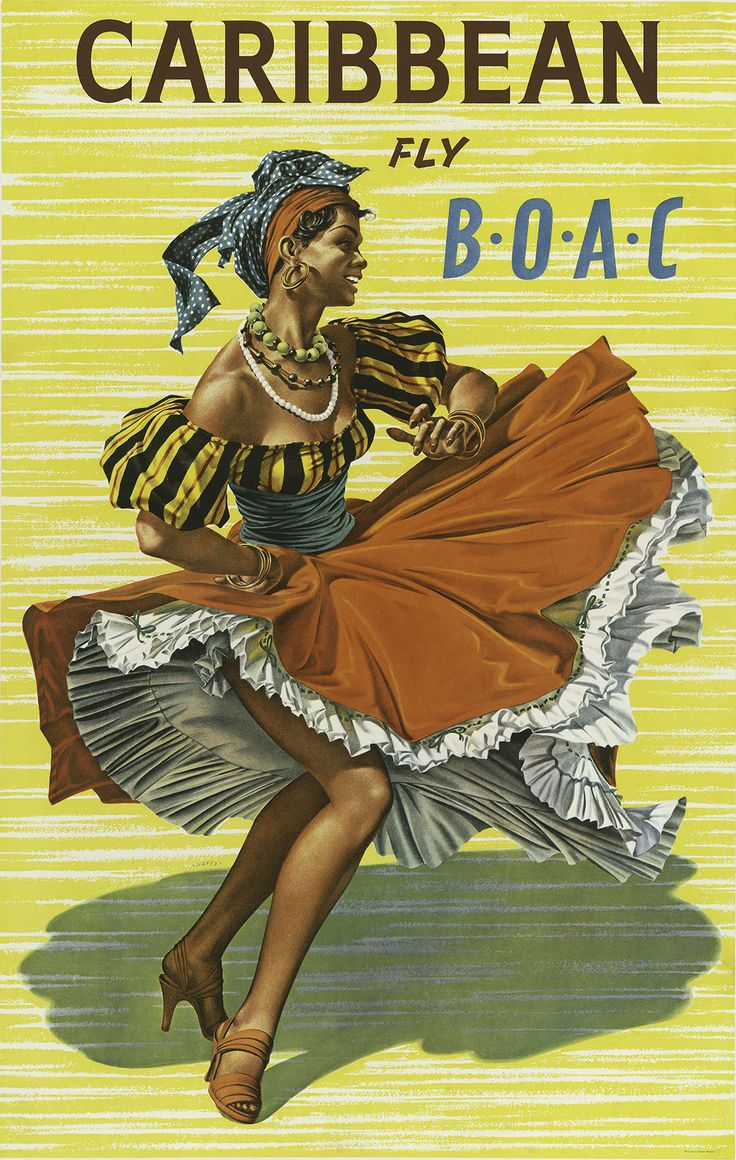 Lady Dancing Fly B.O.A.C to Caribbean Travel Poster by Jamey Scally - http://retrographik.com/lady-dancing-fly-b-o-a-c-to-caribbean-travel-poster-by-jamey-scally/ - airline, art, caribbean, holiday, islands, lady, Poster, travel, vacation, Women