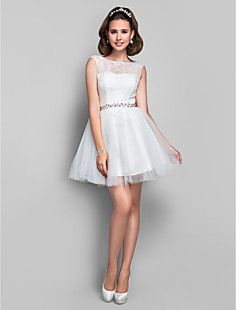 A-line Princess Jewel  Short/Mini Crystal Detailing Lace And... – USD $ 129.99