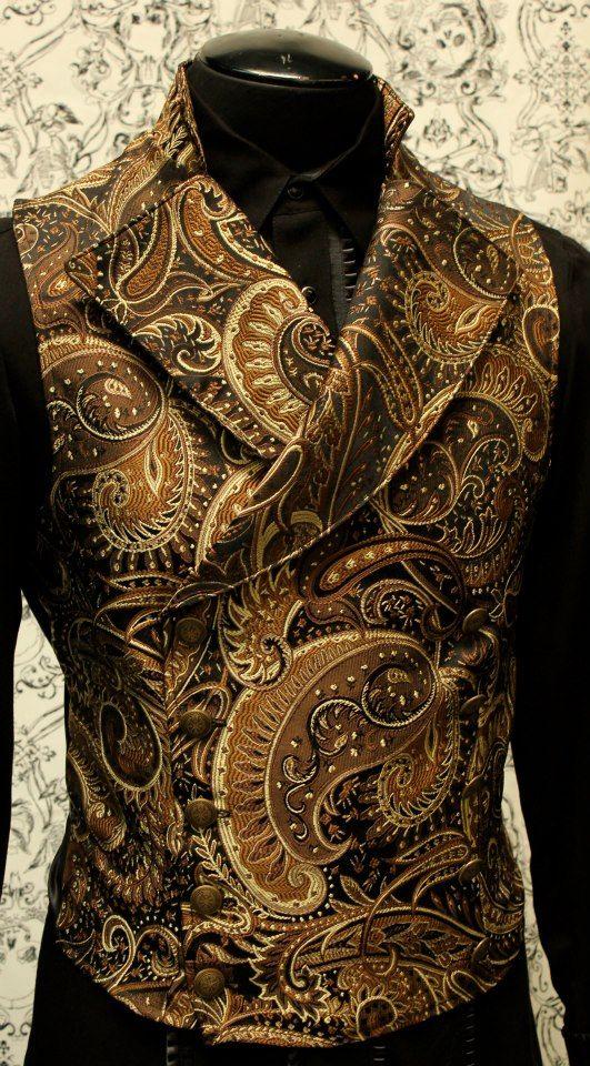 Copper brocade steampunk mens vest