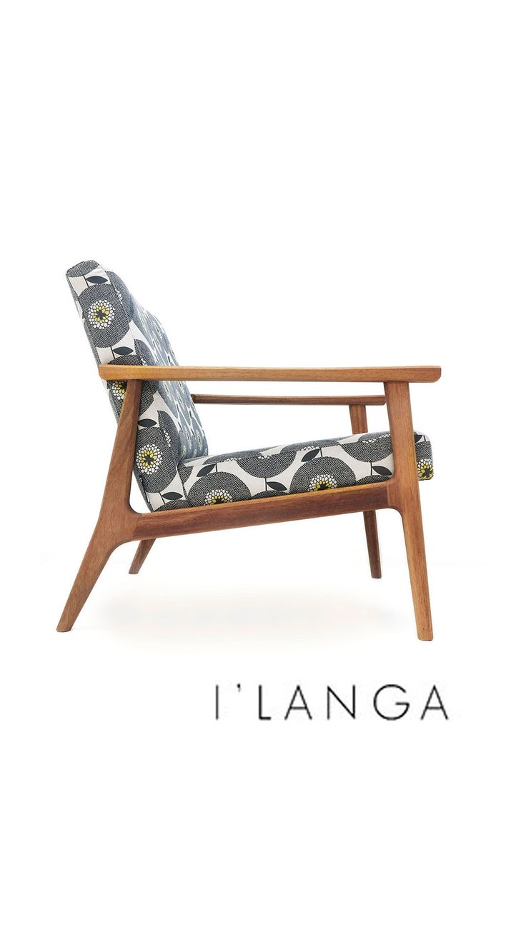 We're excited to introduce our bespoke range of midcentury-inspired chairs. Featured is the I'langa chair in the Skinny laMinx Flower Fields design in Penny Black. #skinnylaminx #livingwithskinnylaminx