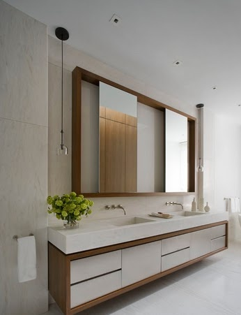 La Boheme// like custom vanity, thicker top, med. wood with white/cream