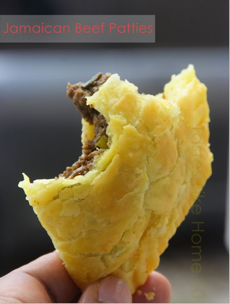 Love at first bite - Jamaican Beef Patties! _ I've been to Jamaica more than once but it was not in Jamaica that I had my first bite of their famous beef patties and fell in love, it was in Guyana, many years ago! But the patties were made by Jamaicans. They were sooooo good. The all-shortening pastry crust (aka flaky pastry) is one of the stars of this patty. You can see the flakes as the patty comes out of the oven.