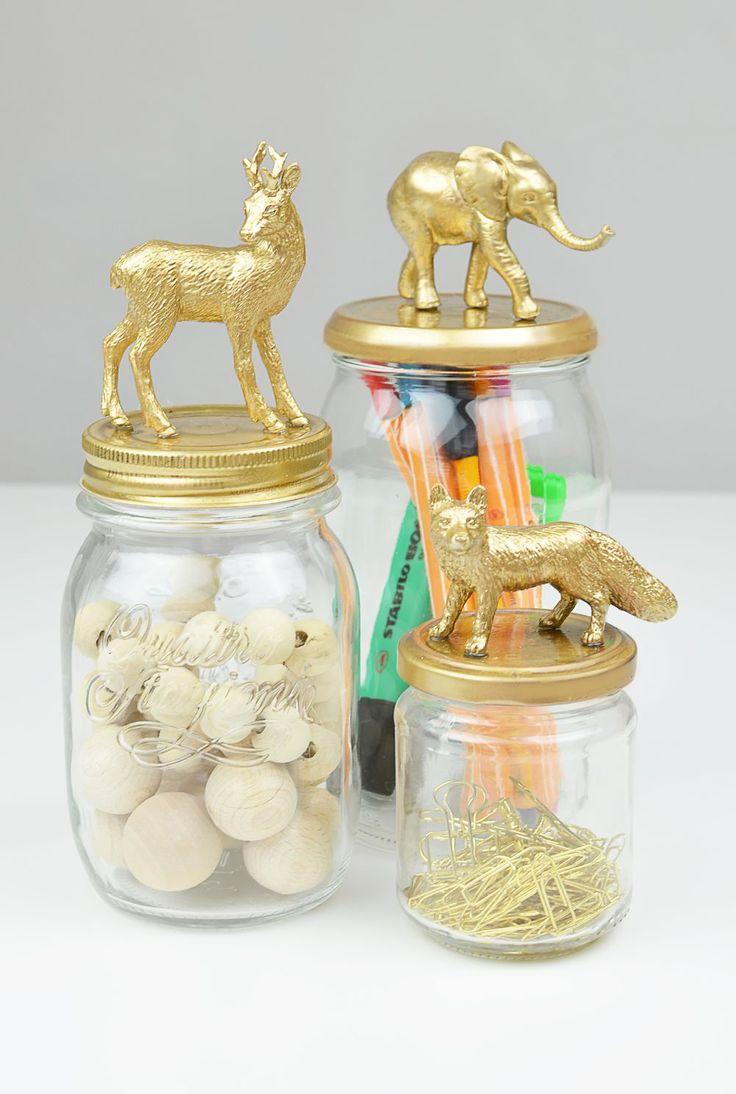 Słoiki ze złotymi zwierzątkami DIY