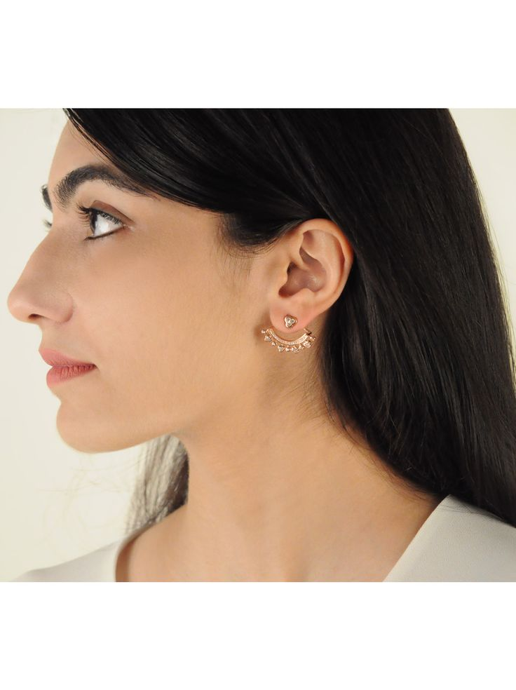 Ispahan Ear Jackets -  INR 3,199 - Rose gold ear jackets with a delicate dotted under cuff set with cubic zirconia and finished in 18K rose gold. These beauties are very on trend and work well with your everyday wardrobe.
