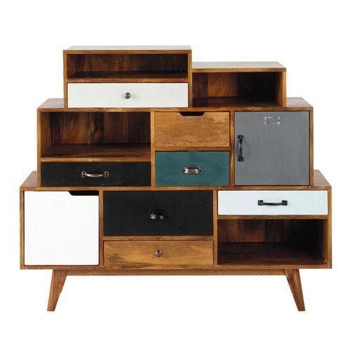Cabinet de rangement vintage en manguier massif L 125 cm