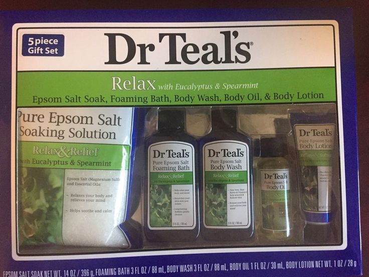 Dr Teals Relax Eucalyptus & Spearmint 5-Piece Bath Gift Set Epsom Salt Oil Wash  | eBay