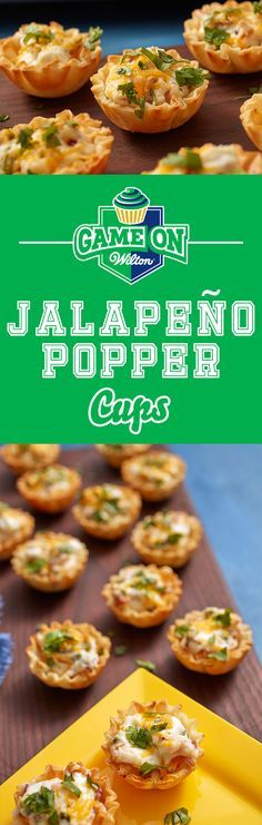 Jalapeno Popper Cups Recipe - Get your party poppin' with some spicy game day snacks. Light and flaky phyllo dough cups hold the keys to the perfect popper—a combination of cream cheese, sour cream, shredded cheddar, fresh bacon bits and of course, jalapeño. Use the Wilton Mega Mini Muffin Pan to bake 4 dozen of these game day snacks at once.