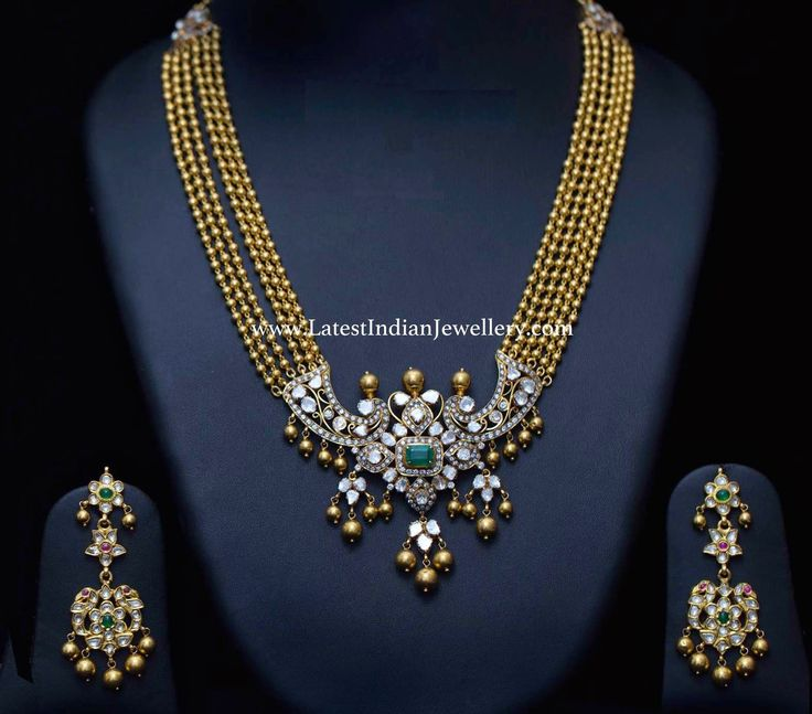 Gold Balls Haram Polki Pendant