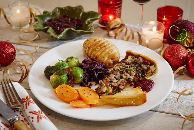 vegan roast dinner- mushroom, chestnut and cranberry tart with fancy roast veg.