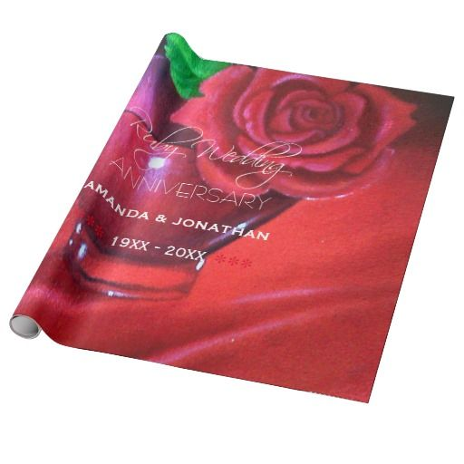 40th Ruby Wedding Anniversary Red Rose Wrapping Paper