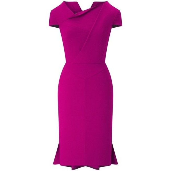 Roland Mouret Farrant Dress ($2,390) ❤ liked on Polyvore featuring dresses, midi, pink asymmetrical dress, asymmetric midi dress, roland mouret dress, shiny dress and zipper dress