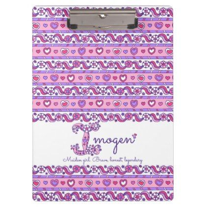 #Imogen name meaning hearts letter I clipboard - #office #gifts #giftideas #business