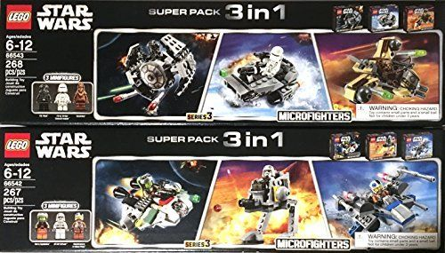 Lego Star Wars Super 6 Pack Microfighter Chewbacca Gunship  XWing Fighter  Ghost Ship  Snowspeeder  Tie Fighter  ATAt Series 3  66542  66543 -- Check out the image by visiting the link.Note:It is affiliate link to Amazon.