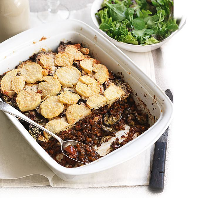 Our healthy lentil and aubergine gratin recipe is filling but healthy. This low fat, low calorie, low salt dinner counts for all of your 5-a-day.