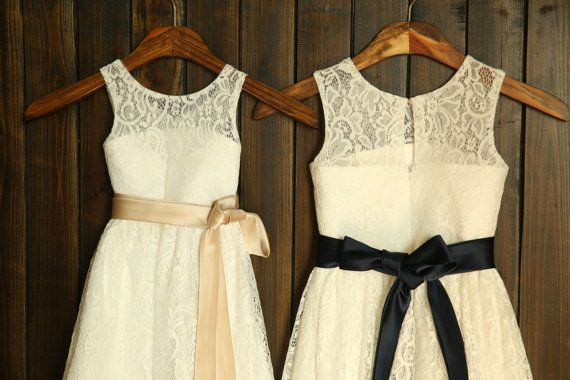 Lace Flower Girl Dress with Champagne/Navy Blue Sash Wedding Children Easter Bridesmaid Communion Baptism Dress on Etsy, $56.99