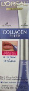 L'oreal Paris Collagen Filler Lip Treatment by L'Oreal Paris. $8.90. This product really works! It's an inexpensive way to get results you'll be happy with!. Loreal Paris Lip Collagen Filler is so easy to use, and gives you a fuller lip almost instantly, I highly recommend it to anyone!