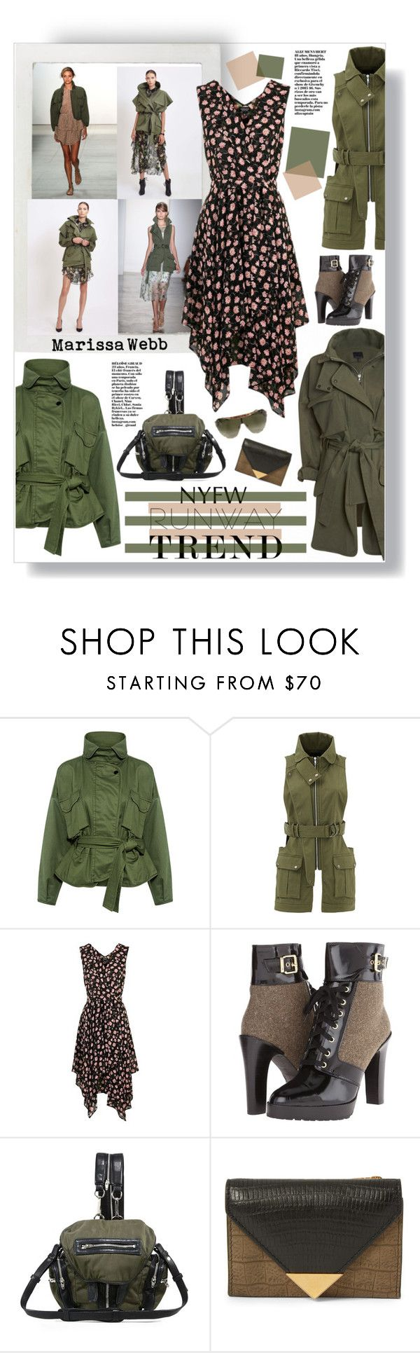 """""""Military Jacket"""" by mmk2k ❤ liked on Polyvore featuring Marissa Webb, Topshop, Diesel, Alexander Wang, Roberto Cavalli, NYFW, jacket, military, 2017 and runwaytrend"""
