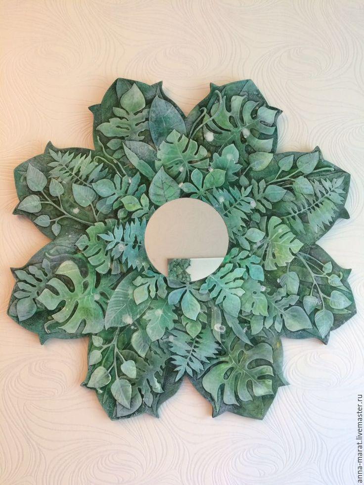 """Купить зеркальное панно """"Лесная Мандала"""" - зеленый, для дома и интерьера, для спальни, украшение интерьера"""