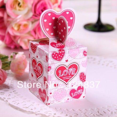 Розовое сердце Любовь Свадьба Бумажные коробки подарок шоколад коробки конфет Дворянские свадьбы поставляет невесты Избранные 50pcs/lot 14.80