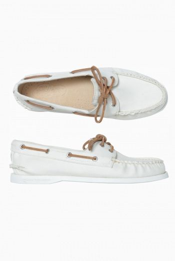 Womens Sperry Canvas Twill Deck Shoe- White