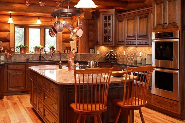 Kitchens com rustic kitchen photos log cabin kitchen for Cabin kitchen backsplash ideas