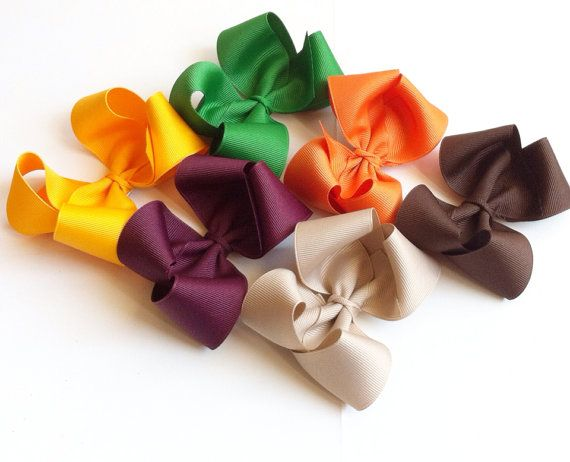 Thanksgiving Hair Bow Set of Large Bows by LeahsLittleBowtique, $18.00