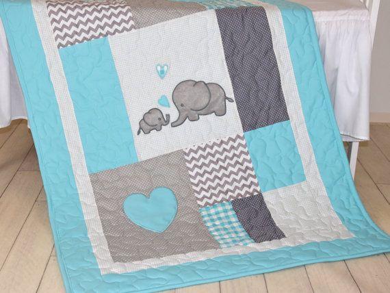 Couverture gris Aqua, éléphant de couette couverture, couverture Patchwork de Chevron bébé