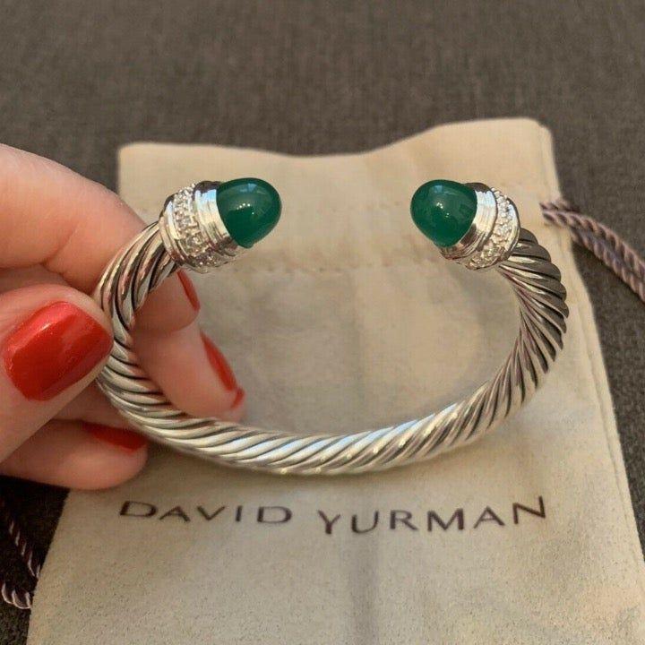 David Yurman Sterling Sliver Bracelet with Double Green Topaz
