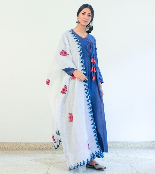 Blue Cotton Appliqued Angrakha With Palazzos & Dupatta #indianroots #ethnicwear #angrakha #palazzos #cotton #appliqued #summerwear #casualwear