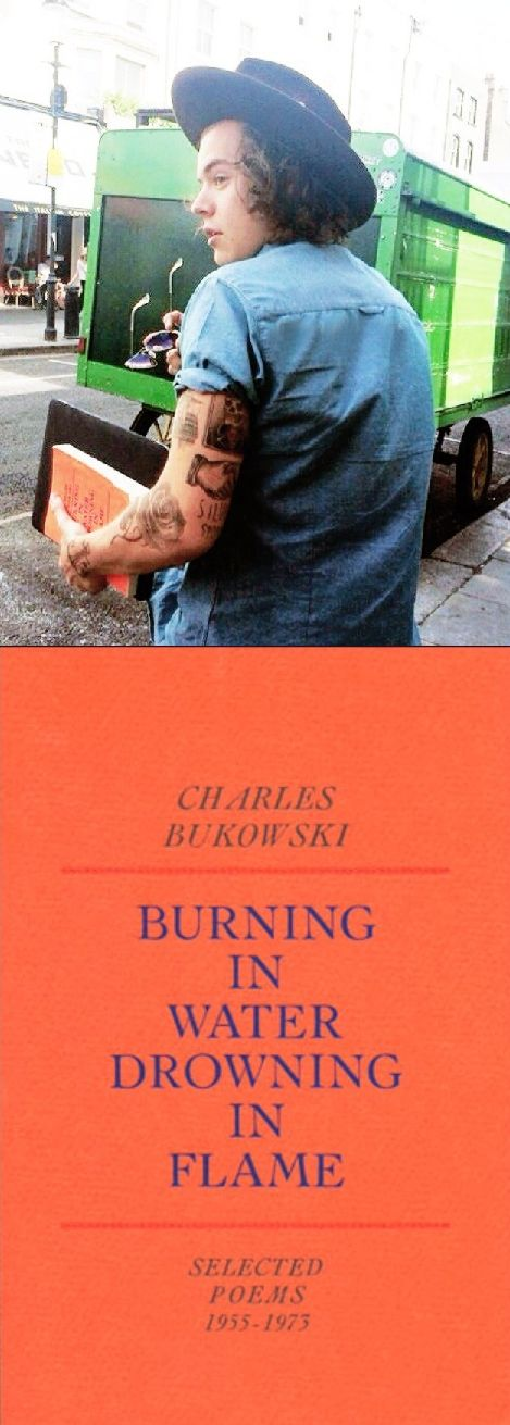 Harry carrying a copy of Charles Bukowski's Burning In Water Drowning In Flame