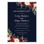 Navy Burgundy Floral Fall Engagement Party Card