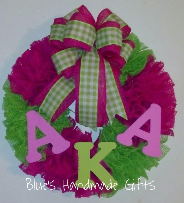 BLACK FRIDAY SALE! $40.00 1 DAY ONLY! AKA Wreath, Sorority Wreath, School Wreath, Dorm Wreath, Teachers Gift, Back to School, Gifts for Her, School Decor, Indoor Wreath by HandmadeGiftsbyBlue on Etsy