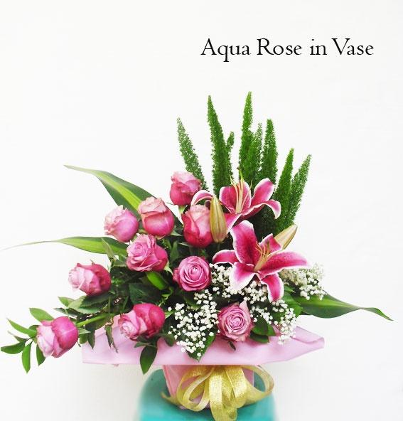 Aqua Rose in Vas