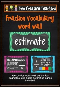 This product contains 30 fraction vocabulary cards. The cards are based on teaching fractions in a classroom. These cards can be displayed around the classroom. They can be given to students to define or discuss the meaning of with a peer. Students can be encouraged to use as many of these words as they can and place their initials next to each word when completed. They can learn how to spell the words. The product also contains definition cards