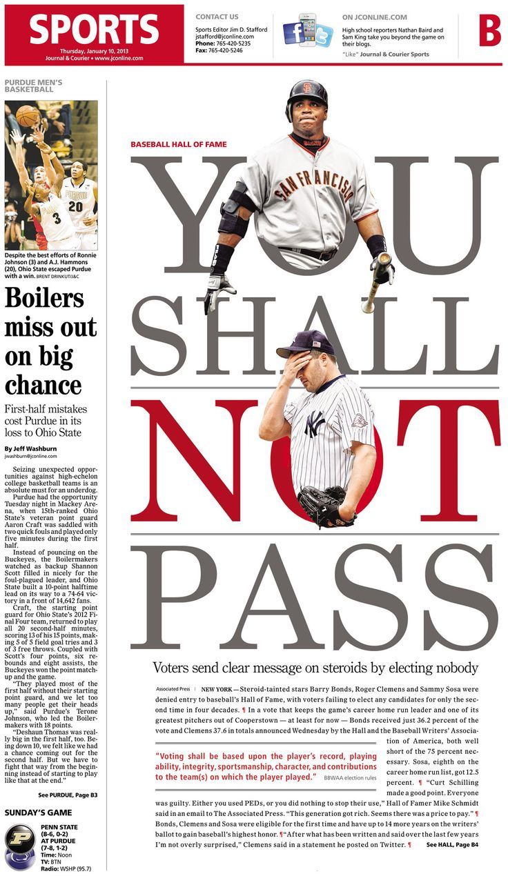 Type dominates lead art — Journal & Courier sports cover, via apple.copydesk.org