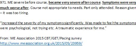 A negative experience of ‪#‎GradedExerciseTherapy‬ from ME Association 2015 ‪#‎MEcfs‬ CBT/GET/Pacing survey  http://www.meassociation.org.uk/2015/05/23959