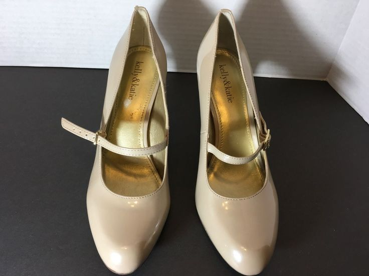 Kelly & Katie Caris Mary Jane Beige Patent Leather Pumps High Heel Shoes Size 9M #KELLYKATIE #PumpsClassics #Party