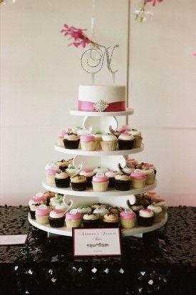 Georgetown Cupcake Wedding Dessert 1 275x414 Modern Pink and Black Wedding Reception in Washington DC: Patty + Josh