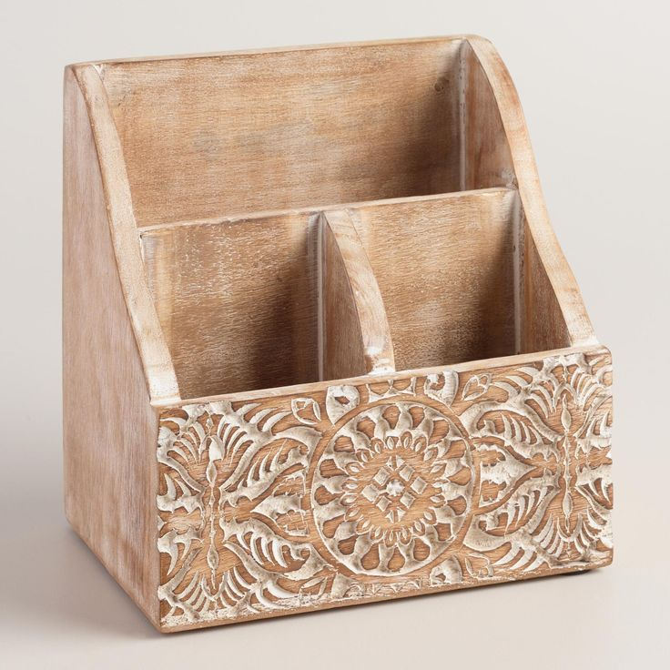 Mini Hand Carved Wood Gianna Desk Organizer. Office Desk AccessoriesCarved  WoodHand CarvedWorld MarketOffice ...
