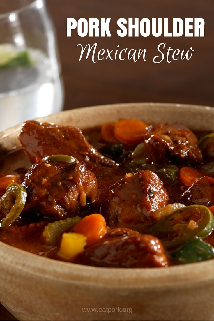 Love this simple and savory pork shoulder stew. It combines Mexican flavors with a bit of kick. Perfect for those cold winter nights! #recipe #easy #soup