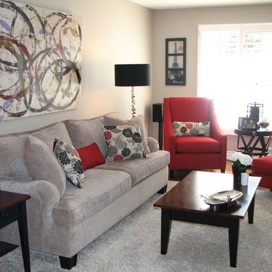 Love the grey and red living room family room ideas pinterest grey chair pillow and for Black red and grey living room