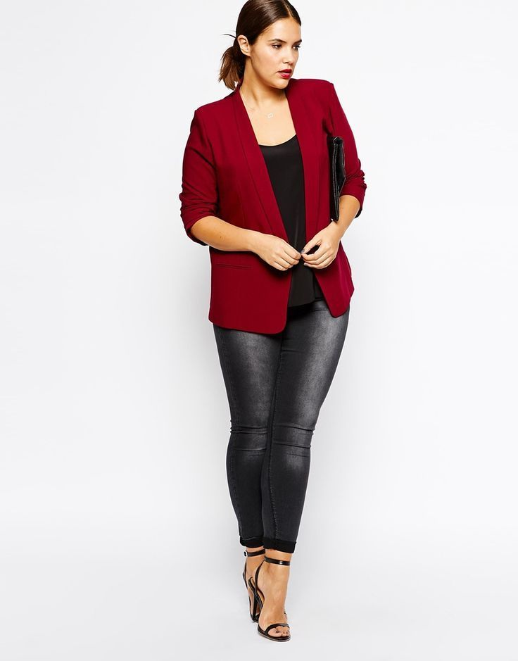 Red dress black blazer plus size
