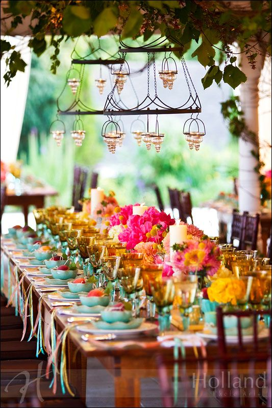 Pretty wedding decoration ideas with lots of colorful flowers, candles, ribbons, and table centerpieces. Perfect for a garden party, bridal shower, big event, or garden wedding. ♥