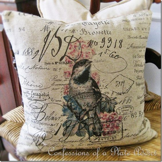 CONFESSIONS OF A PLATE ADDICT DIY Vintage French Script Bird Pillows...and an Interview on the Back Porch