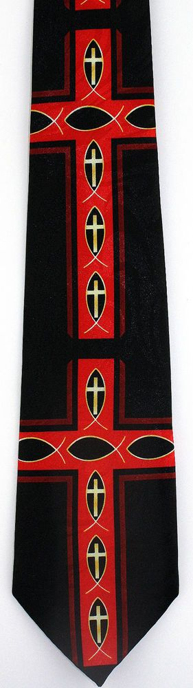 New Fish Symbol Red Cross Mens Necktie Christian Jesus Christ Religious Neck Tie #StevenHarris #NeckTie