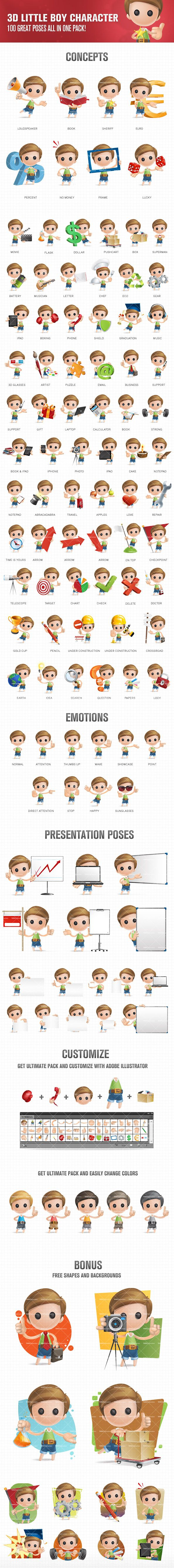 3D Little Boy Cartoon Character Set #cartooncharacter #vectorcharacter