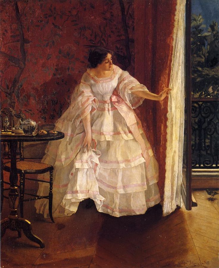 Lady at a Window Feeding Birds    Artist: Alfred Stevens    Date of Completion: c.1859    Style: Romanticism    Gender: portrait    Technique: oil    Material: canvas    Dimensions: 45.08 x 37.46 cm