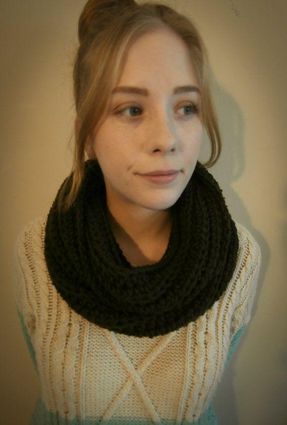 Fall Sale Crochet Infinity Scarf Brown by PreciousLambKnits