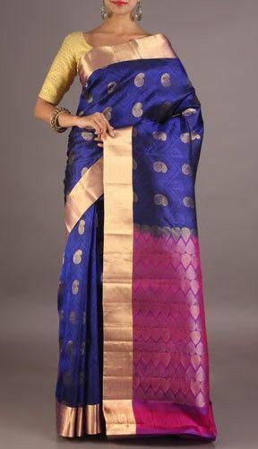 Avani Royal Blue And Purple Golden Paisleys Dazzling Coimbatore Silk Saree
